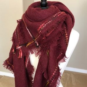 Burgundy Blanket Scarf Wrap Shawl Fringe Trim